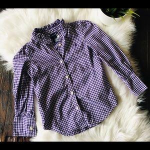 RALPH LAUREN Purple Gingham Ruffle Trim Blouse 6